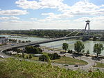 Bratislava New Bridge from castle hill.JPG