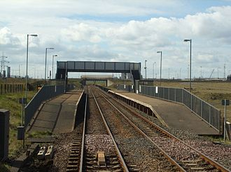 Redcar British Steel railway station - Image: British Steel Redcar railway station in 2008
