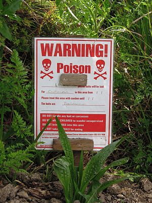 Brodifacoum - DOC Notice to hikers of poison baits in New Zealand.