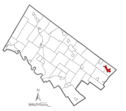 Location of Bryn Athyn in Montgomery County, Pennsylvania.