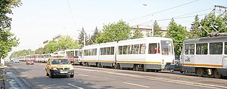 Transport in Bucharest - Long line of RATB trams