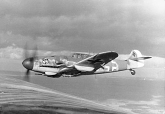 Messerschmitt Bf 109 - A Bf 109G-6 of JG 27 in flight, 1943