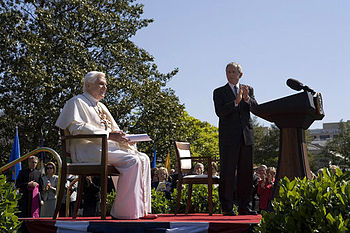 President George W. Bush applauds Pope Benedic...