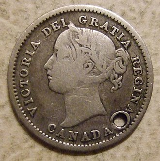 Dime (Canadian coin) - Image: CANADA, VICTORIA 1858 10 CENTS CANADA'S FIRST DIME b Flickr woody 1778a