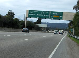 California State Route 68 - SR 68 westbound concurrent with SR 1 southbound in Monterey