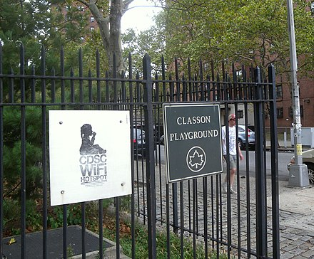Public park in Brooklyn, New York has free Wi-Fi from a local corporation. CDSC wifi Classon jeh.jpg