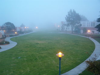 California State University, Monterey Bay - The fog for which Marina is famous can cover the entire campus.