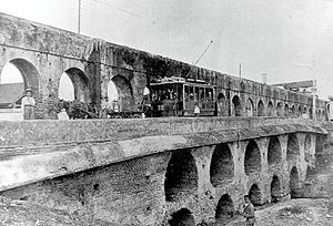 Caños de Carmona - Archive photo showing a section of the Caños de Carmona aqueduct crossing the Tagarete river in Seville.