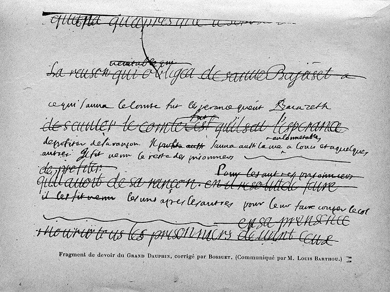 File:Cabanès, Éducation de Princes013 Fragment de devoir du Grand Dauphin, corrigé par Bossuet.jpg