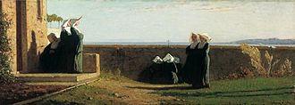 Vincenzo Cabianca - Le monachine, 1861–62, oil on wood, 36 x 99 cm
