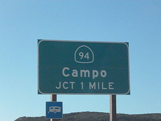 California State Route 94 - SR 94 sign off Interstate 8
