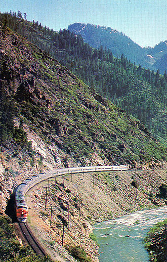 Western Pacific Railroad - California Zephyr pulled by Western Pacific engines through Feather River Canyon