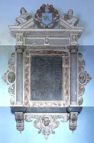 Arlington, Devon - Mural monument to Rev. Gascoigne Canham (died 1667), Rector of Arlington, north wall of chancel, St James Church, Arlington