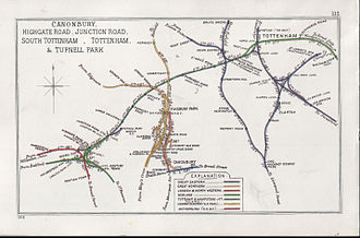 Great Eastern Railway - Map dated 1914, showing, on the right, some of the north London branches of the Great Eastern Railway