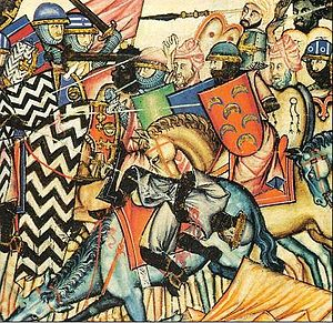 Moors - Moorish army (right) of Almanzor during the Reconquista Battle of San Esteban de Gormaz, from Cantigas de Alfonso X el Sabio