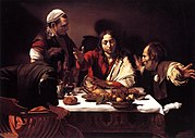 In the Supper at Emmaus, Caravaggio depicted the moment the disciples recognise Jesus