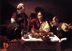 Post-Resurrection appearances of Jesus - Supper at Emmaus, Caravaggio depicted the moment the disciples recognize Jesus.