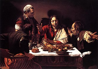 Gospel of Luke - Supper at Emmaus (1601), Caravaggio, National Gallery.