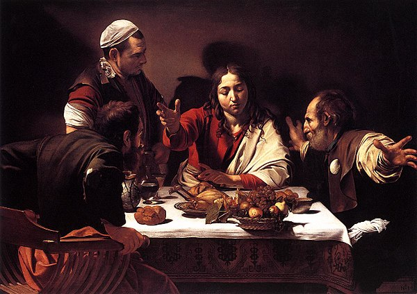 Supper at Emmaus, Caravaggio (1601-02) depicts the moment the disciples recognize Jesus. Caravaggio.emmaus.750pix.jpg