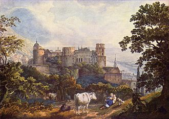 Heidelberg Castle - The ruins of the castle as portrayed in a 1815 painting by Karl Philipp Fohr.