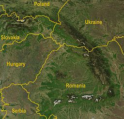 Satellite image of the Carpathians