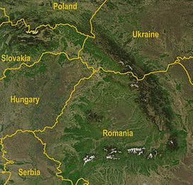 Satellite image of the eastern part of Carpathians