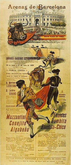 Pasodoble - Poster for a bull fight in Barcelona