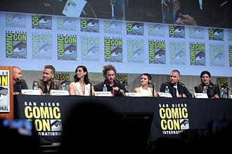 Deadpool (film) - (L-R) Tim Miller, Reynolds, Baccarin, T. J. Miller, Hildebrand, Skrein, and Carano speaking at the 2015 San Diego Comic-Con