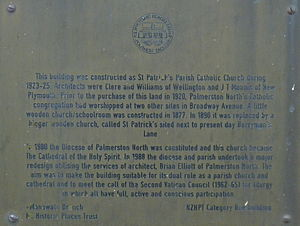 Cathedral of the Holy Spirit, Palmerston North - Historic plaque on the Cathedral of the Holy Spirit