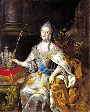 Imperial Crown of Russia - Catherine the Great with the Great Imperial Crown to her right. Painting by Alexei Antropov, ca. 1765.
