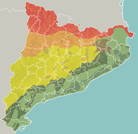 Geomorphologic map of Catalonia: Pyrenees Pre-Pyrenees Catalan Central Depression Smaller mountain ranges of the Central Depression Catalan Transversal Range Catalan Pre-Coastal Range Catalan Coastal Range Catalan Coastal Depression and other coastal and pre-coastal plains Catmorfo.png