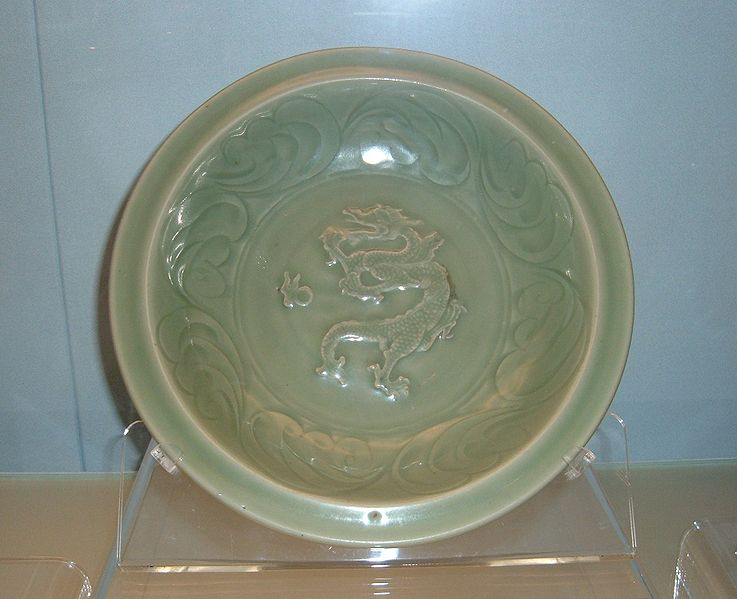 File:Celadon dish with applied dragon design.JPG
