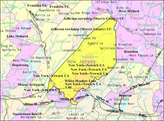 Rockaway Township, New Jersey - Image: Census Bureau map of Rockaway Township, New Jersey