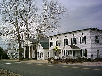 Lancaster, Virginia - Central Lancaster, with the courthouse and offices visible