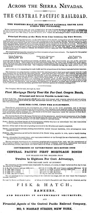 Central Pacific Railroad - Advertisement for CPRR First Mortgage Bonds (1867)