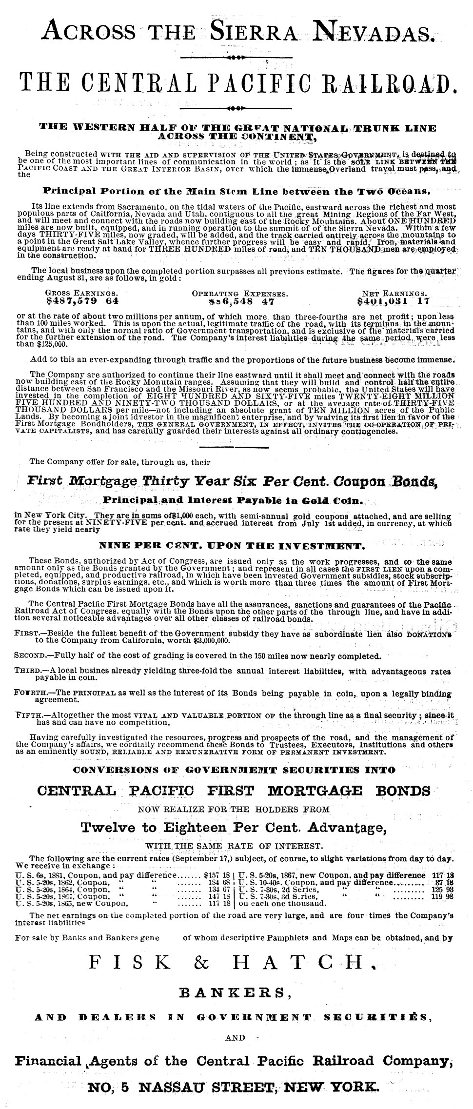 Central Pacific Railroad First Mortgage Bonds Advertisement 1867