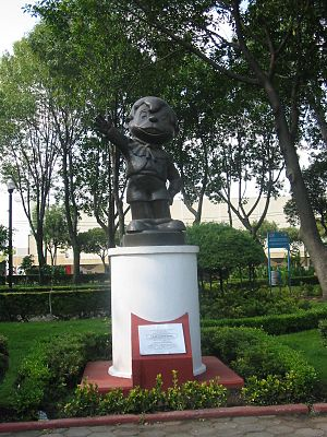 Chabelo - Statue created in honor of Xavier Lopez, better known as Chabelo, on permanent display at the Jardin de los Grandes Valores (Garden of Great Values) in Mexico City.