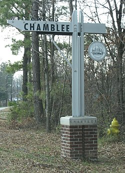A welcome to Chamblee sign