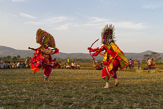 Arts of West Bengal - Chhau Mask dance parforming in the field