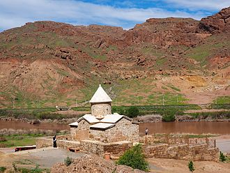 Chapel of Chupan - Chapel of Chupan in Jolfa province, Iran seen from the south. The Nakhchivan Autonomous Republic is visible across the valley of the Aras River.