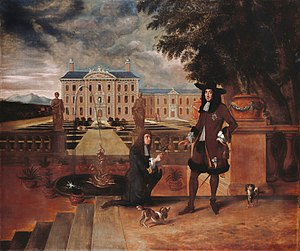 Restoration literature - Charles II being given the first pineapple grown in England by his gardener, John Rose; note also the Cavalier King Charles Spaniels in the foreground