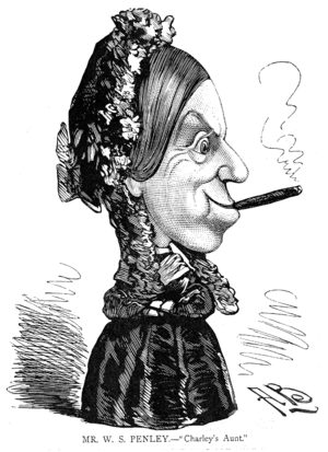 Charley's Aunt - W. S. Penley as the original Charley's Aunt, as drawn by Alfred Bryan