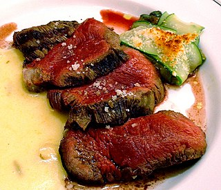Chateaubriand (dish) meat dish cooked with a thick cut from the tenderloin filet
