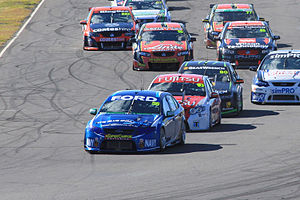 Chaz Mostert - Mostert leads the field into turn 1 at Queensland Raceway