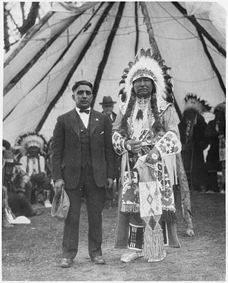 Fort Hall Indian Reservation - Translator George LaVatta and Chief Tendoi at the Fort Hall Reservation circa 1923