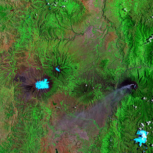 Tungurahua - False-color satellite image of Tungurahura (center right, with plume of ash emanating from it) and its neighbor Chimborazo (center left)