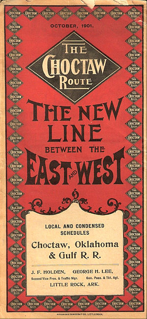 Choctaw, Oklahoma and Gulf Railroad - Cover of a 1901 timetable