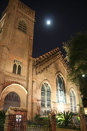 Christ Church Cathedral (Houston) - Christ Church Cathedral at night