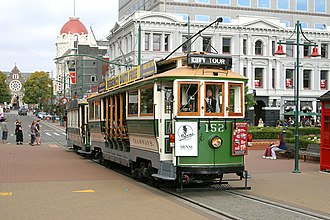Trams in New Zealand - Christchurch Boon tram No 152 with trailer No 115, showing the typical lower central section for quick boarding