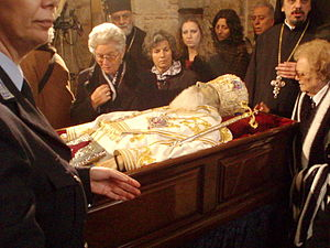 Lying in repose - Archbishop Christodoulos of Athens lying in repose